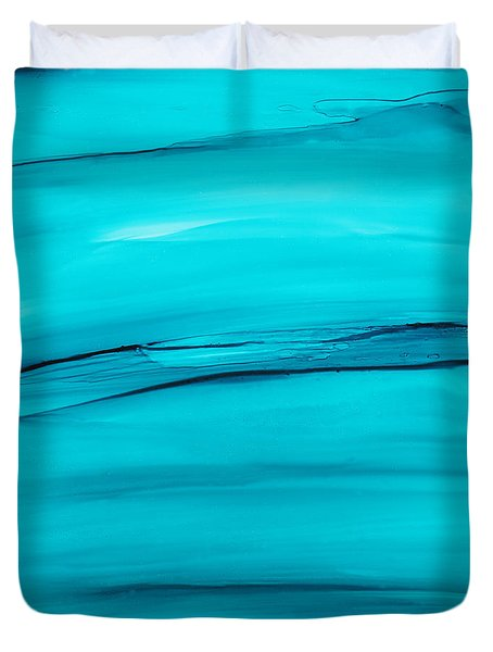 Duvet Cover featuring the painting Adrift In A Sea Of Blues Abstract by Nikki Marie Smith