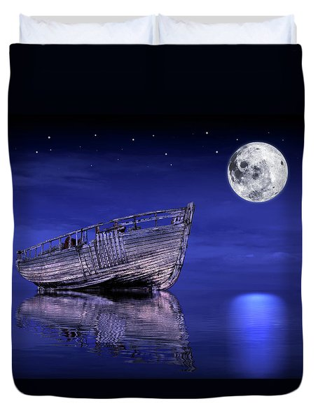 Duvet Cover featuring the photograph Adrift In The Moonlight - Old Fishing Boat by Gill Billington
