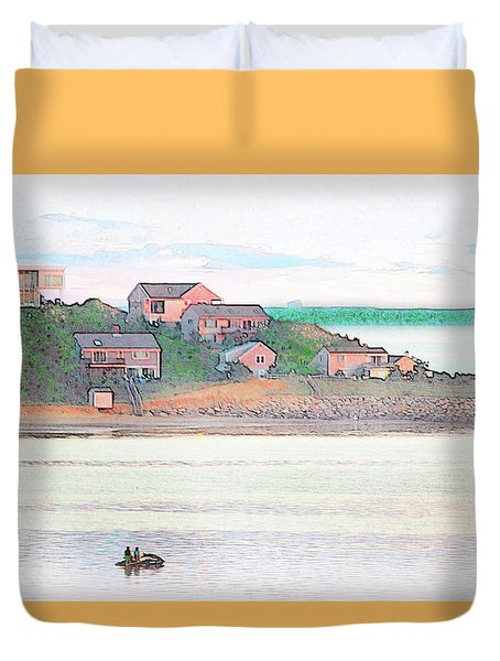 Adrift On The Bay At Sunset Duvet Cover