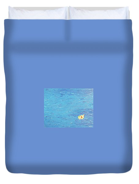 Duvet Cover featuring the painting Adrift by Thomas Blood