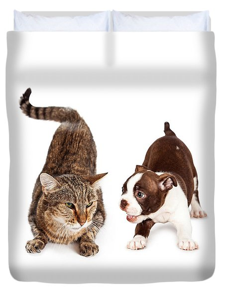Adult Cat Annoyed With Playful Puppy Duvet Cover