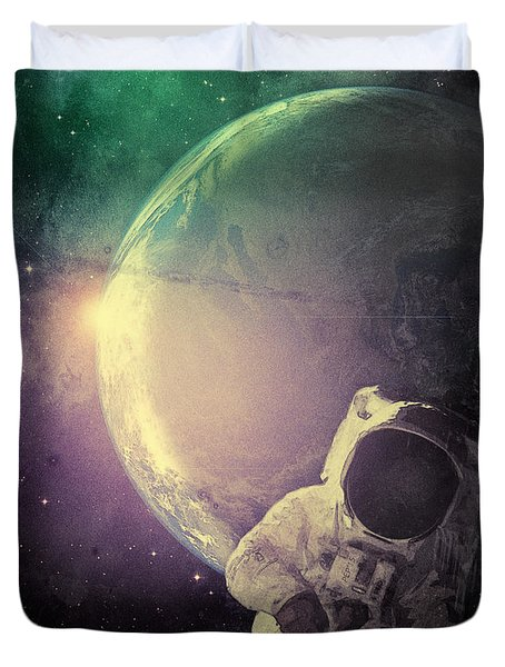 Adventure In Space Duvet Cover by Phil Perkins