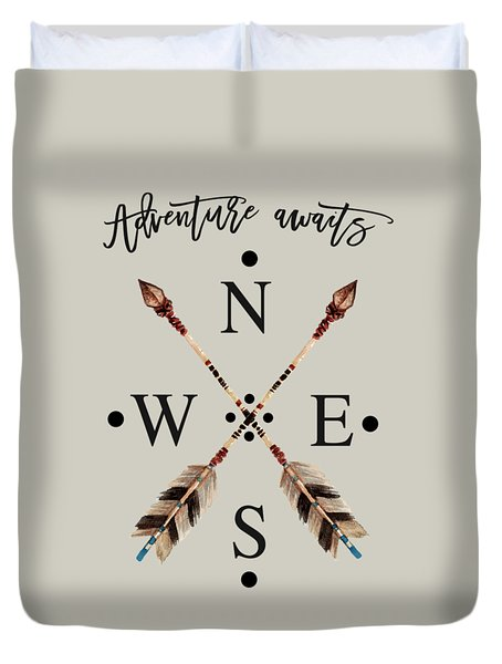 Duvet Cover featuring the digital art Adventure Waits Typography Arrows Compass Cardinal Directions by Georgeta Blanaru