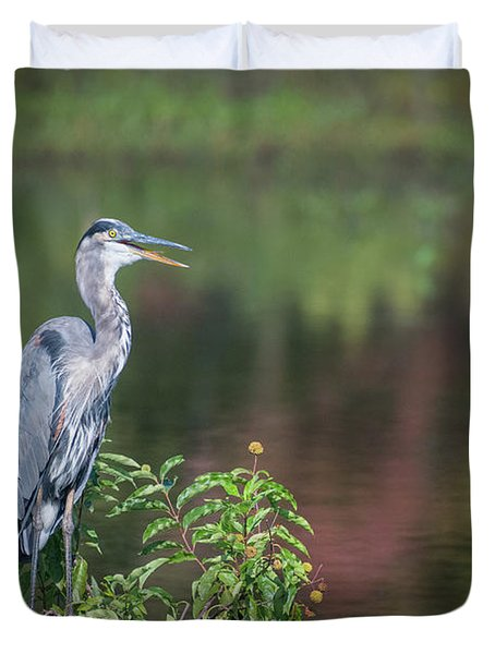 Advice From A Great Blue Heron Duvet Cover
