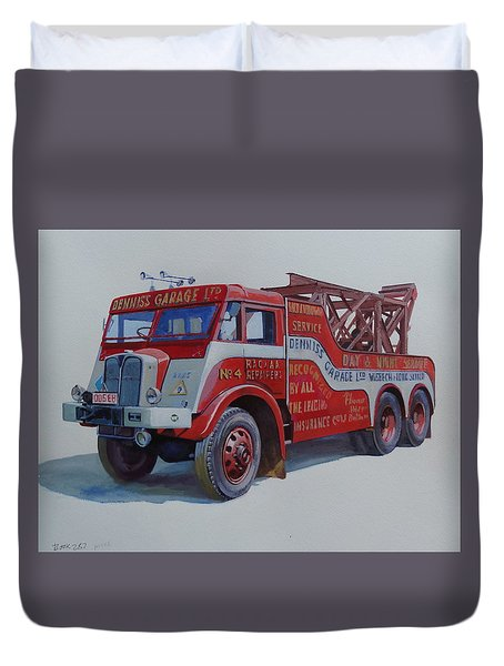 Duvet Cover featuring the painting Aec Militant Dennis's. by Mike Jeffries