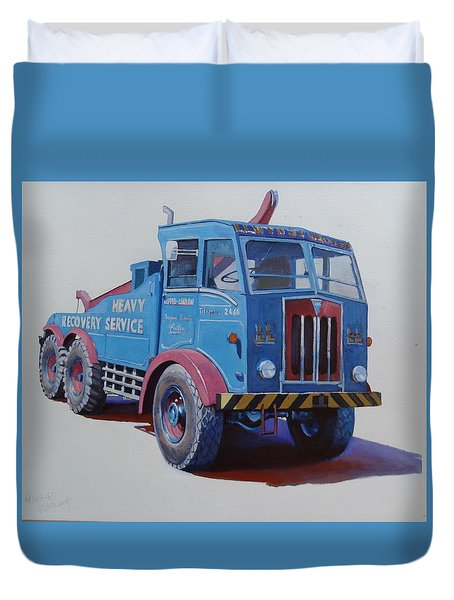 Duvet Cover featuring the painting Aec Militant Lloyds by Mike Jeffries