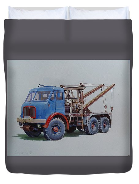 Duvet Cover featuring the painting Aec Militant Wrecker. by Mike Jeffries