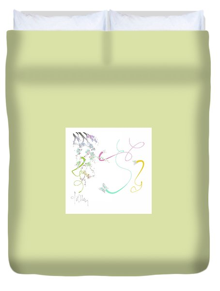 Duvet Cover featuring the mixed media Spring Fervor by Larry Talley