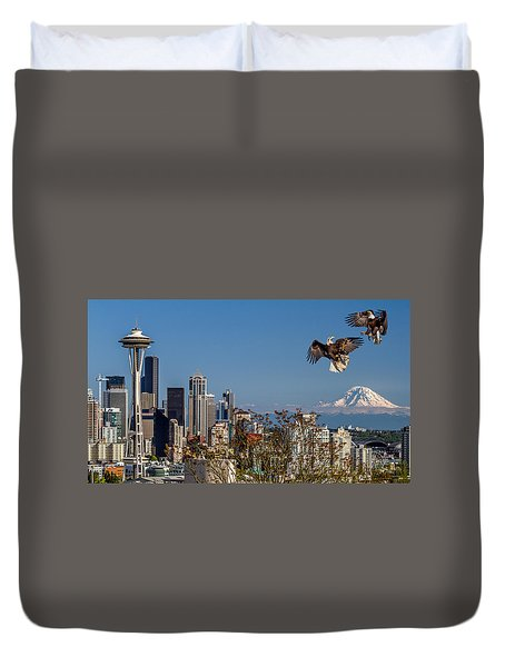 Duvet Cover featuring the photograph Aerial Battle by Rob Green