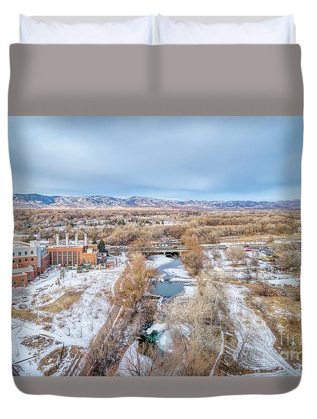 aerial cityscape of Fort Collins Duvet Cover