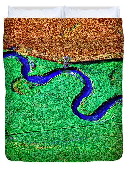 Aerial Farm Stream 3 Duvet Cover