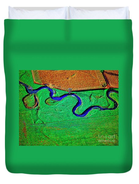 Aerial Farm Stream 3 Duvet Cover
