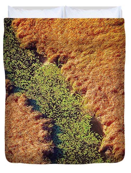 Aerial Farm Stream Lillies  Duvet Cover