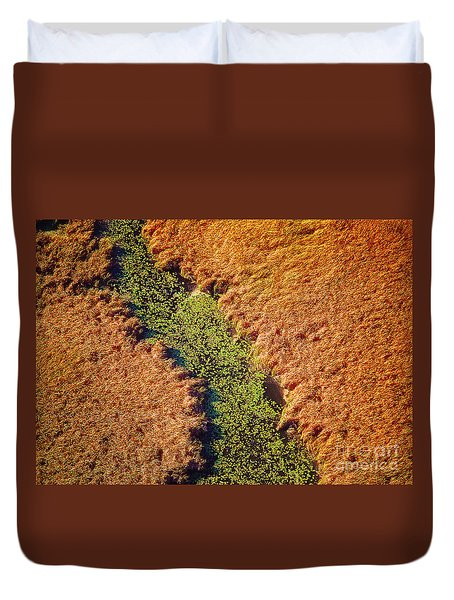 Aerial Farm Stream Lillies  Duvet Cover