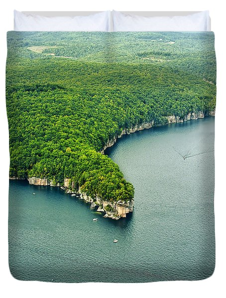 Aerial Image Of  Long Point Cliff Duvet Cover