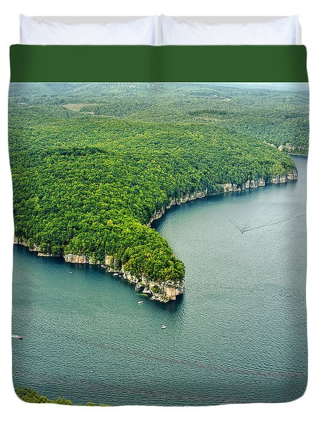 Aerial Image Of  Long Point Cliff Duvet Cover by Mark Allen