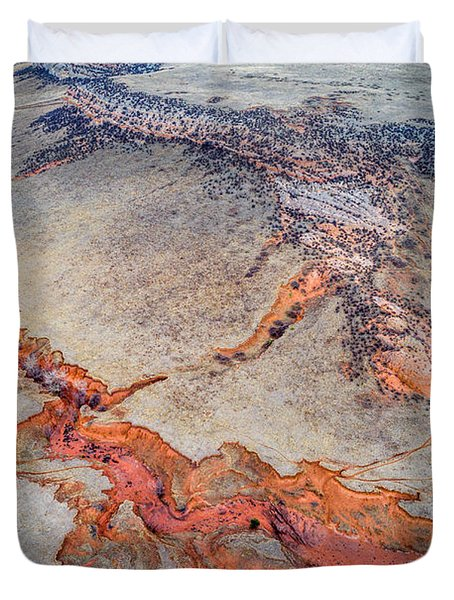 aerial landscape abstract of Colorado foothills Duvet Cover