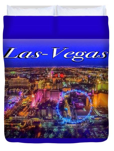 Aerial Las- Vegas Evening Duvet Cover