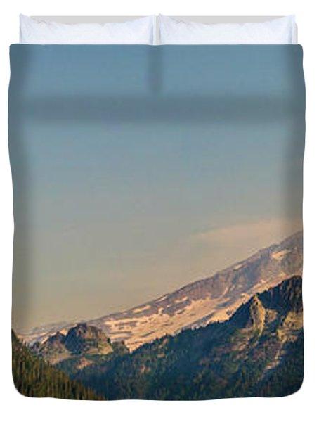Aerial Mount Rainier And Tatoosh Range Panorama Duvet Cover