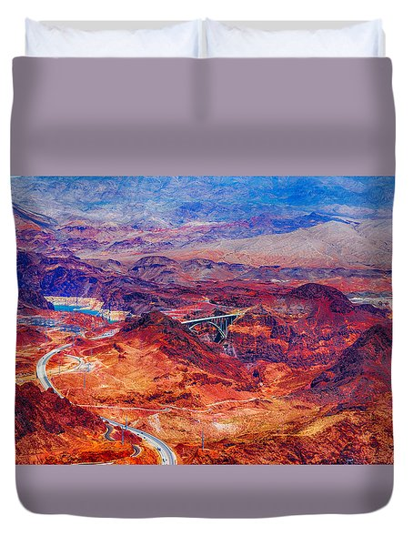 Aerial Of Hoover Dam And Bypass Bridge Duvet Cover