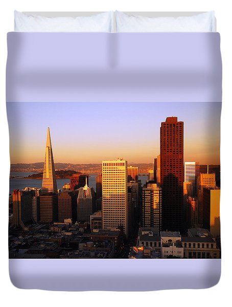 Duvet Cover featuring the photograph Aerial Of San Francisco by James Kirkikis