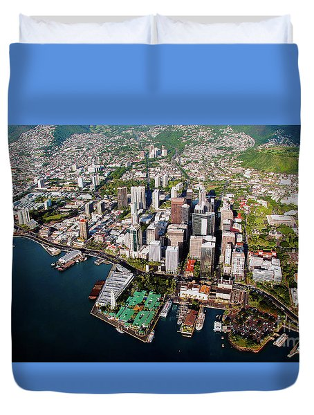 Duvet Cover featuring the photograph Aerial Panorama - Downtown - Honolulu, Oahu, Hawaii  by D Davila