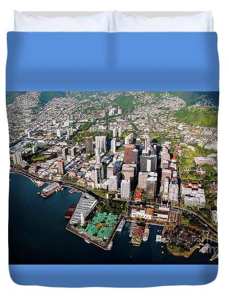Aerial Panorama - Downtown - City Of Honolulu, Oahu, Hawaii  Duvet Cover