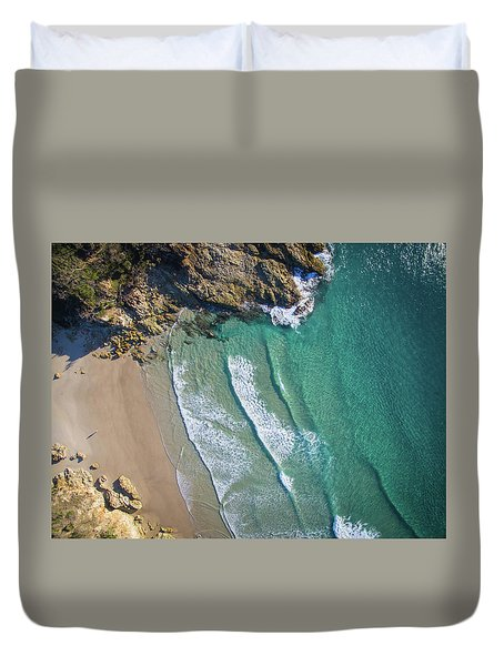 Aerial Shot Of Honeymoon Bay On Moreton Island Duvet Cover