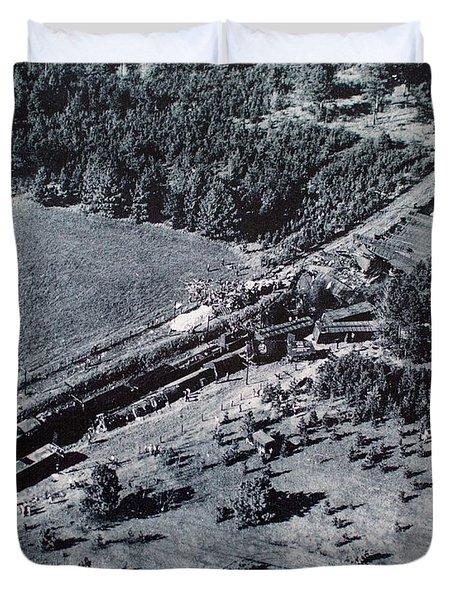 Aerial Train Wreck Duvet Cover