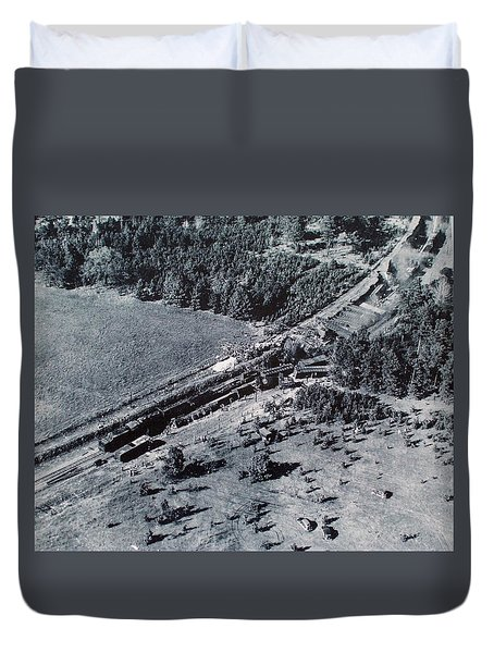 Aerial Train Wreck Duvet Cover