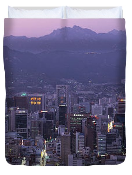 Aerial View Of A City, Central Business Duvet Cover