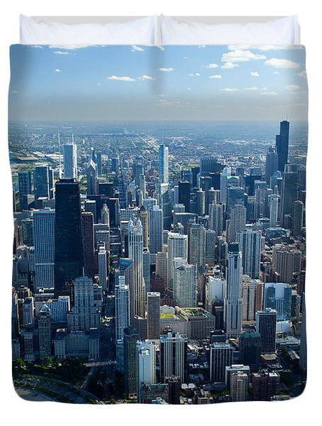 Aerial View Of A City, Lake Michigan Duvet Cover