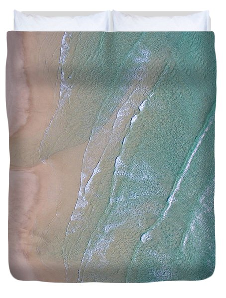 Aerial View Of Beach And Wave Patterns Duvet Cover
