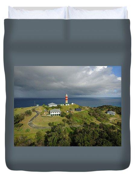 Aerial View Of Cape Moreton Lighthouse Precinct Duvet Cover