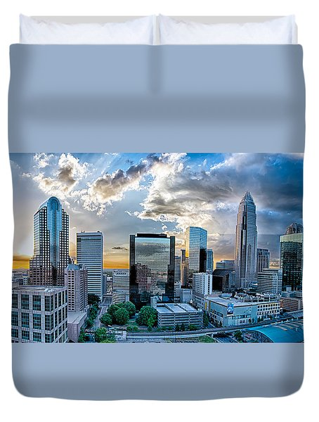 Aerial View Of Charlotte City Skyline At Sunset Duvet Cover by Alex Grichenko