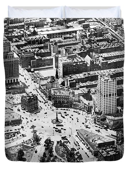 Aerial View Of Columbus Circle Duvet Cover