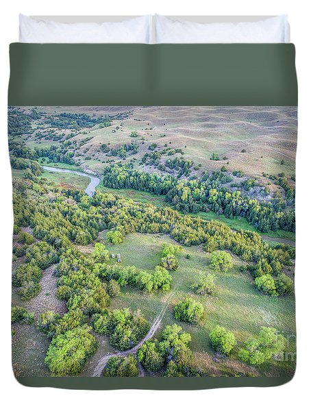 aerial view of Dismal River in Nebraska Sandhills Duvet Cover