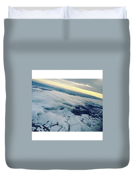 Edinburgh Winter Sunset Duvet Cover by Patsy Jawo