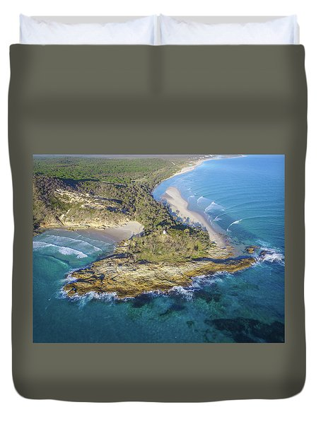 Aerial View Of North Point, Moreton Island Duvet Cover