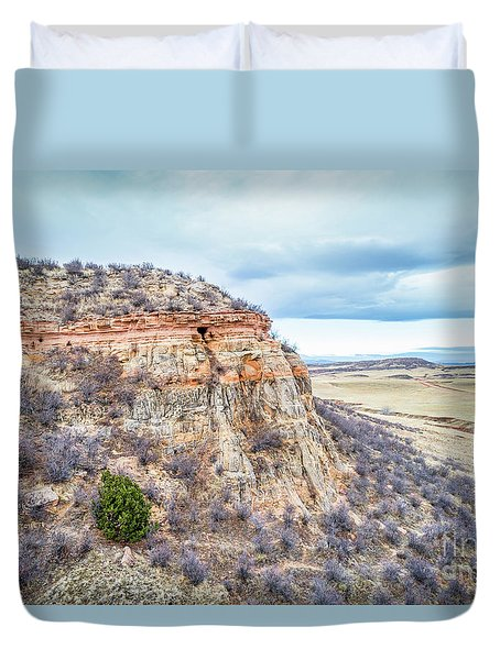 aerial view of northern Colorado foothills  Duvet Cover