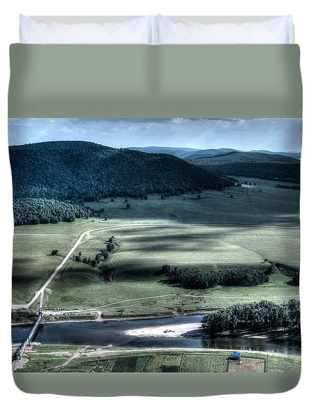 Aerial View Of Rolling Russian Hills Duvet Cover by John Williams