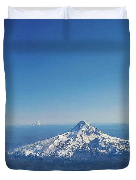 Aerial View Of Snowy Mountain Duvet Cover