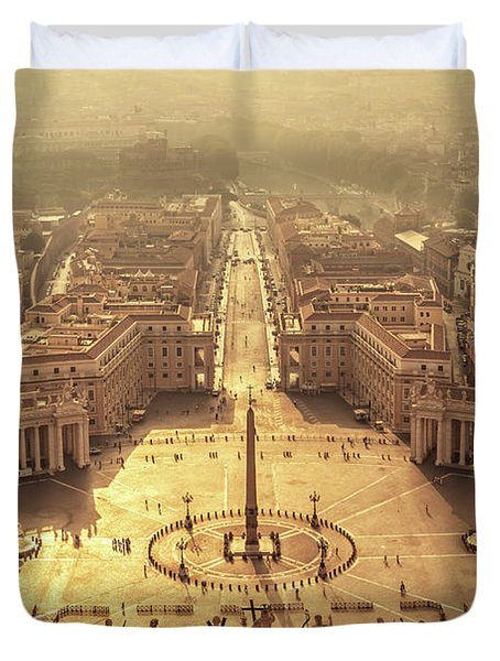 Aerial View Of St Peter's Square Duvet Cover