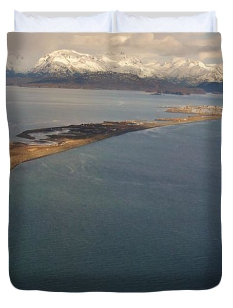 Aerial View Of The Homer Spit Duvet Cover