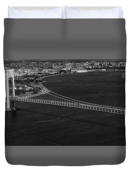 Aerial View Verrazano Bridge And Brooklyn Bw Duvet Cover by Susan Candelario