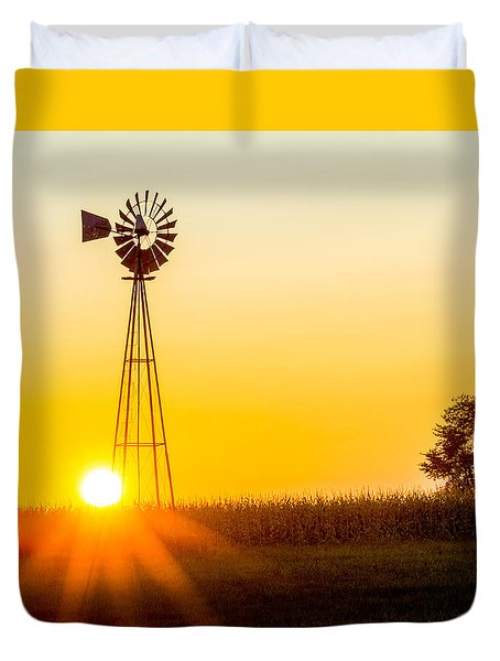 Duvet Cover featuring the photograph Aermotor Sunset by Chris Bordeleau