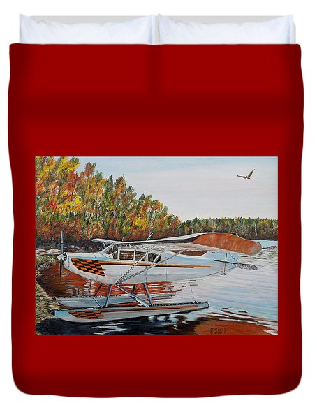 Duvet Cover featuring the painting Aeronca Super Chief 0290 by Marilyn  McNish