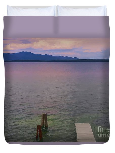 Duvet Cover featuring the photograph Afar by Mim White