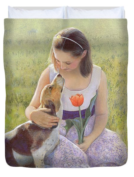Duvet Cover featuring the painting Affection by Nancy Lee Moran