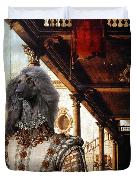 Afghan Hound-capriccio Of Colonade And The Courtyard Of A Palace Canvas Fine Art Print Duvet Cover